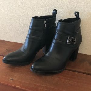 Franco Sarto Ankle Boots, Black Leather, Size 7.